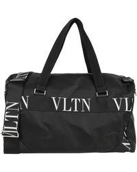 Valentino Garavani Bolso De Viaje De Nailon Con Asas Vltn Con Cordón - Negro