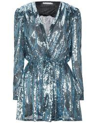 Amen Minikleid mit Pailletten - Blau