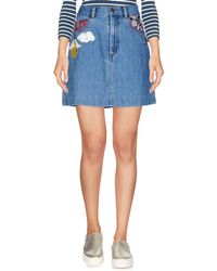 Marc Jacobs Appliquéd Denim Mini Skirt Mid Denim - Blue