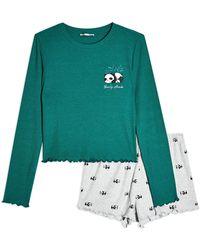 TOPSHOP Waldgrüner gerippter Panda Pyjama