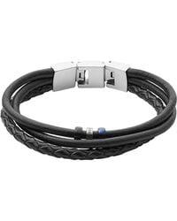 Fossil - Black Vintage Casual Multi-strand Men's Bracelet - Lyst
