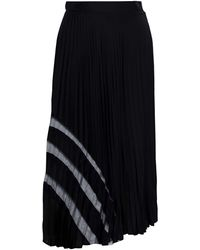 MILLY Tulle-trimmed Pleated Stretch-silk Midi Skirt Black
