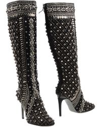 Alberta Ferretti - Crystal-Embellished Knee-High Boots - Lyst