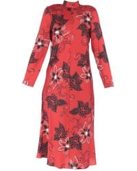 Hache 3/4 Length Dress - Red