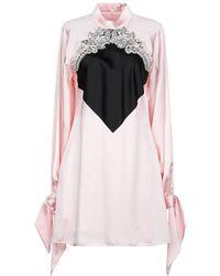 Christopher Kane Embellished Two-tone Satin Mini Dress Baby Pink