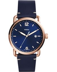 Fossil - Men's Commuter Date Leather Strap Watch - Lyst