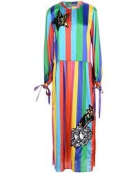 "Mira Mikati Multicolour Silk Blend ""sequin Monster"" Maxi Dress - Blue"