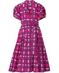 LHD Glades Belted Printed Cotton-blend Poplin Midi Dress - Purple