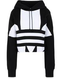 adidas Originals Adidas Large Logo Cropped Hoodie Black/ White - Negro