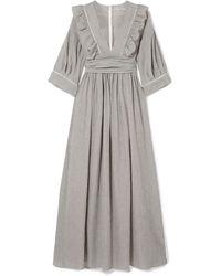 Three Graces London Adeline Striped Cotton-blend Maxi Dress - Grey