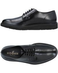 Hogan Men's Classic Leather Lace Up Laced Formal Shoes H322 Derby - Black