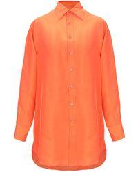 df75f709 Ralph Lauren Black Label Silk Charmeuse Rachel Shirt in Metallic - Lyst