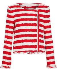 Alice + Olivia Stanton Striped Tweed Jacket - Red