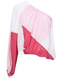 Just Cavalli One-shoulder Pleated Color-block Crepe De Chine Top Baby Pink