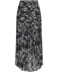Cinq À Sept Ruched Printed Silk-georgette Maxi Skirt Black