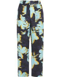 Cedric Charlier - Printed Washed-silk Wide-leg Pants - Lyst