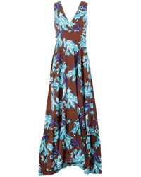 P.A.R.O.S.H. - Robe longue à fleurs - Lyst