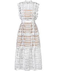 Self-Portrait Midi Dress - White