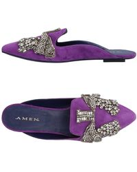 Amen Mules & Clogs - Purple