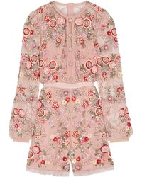 Needle & Thread - Meadow Embellished Tulle Playsuit - Lyst