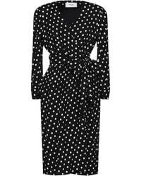 Celine Wrap Dress With Polka Dots - Black