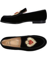 Christian Louboutin Perou Corazon Embroidered Velvet Loafers - Black