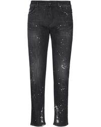 B-Used Denim Trousers - Black