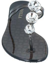 Le Silla Toe Post Sandals - Black