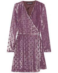 House of Holland Spot Velvet Wrap Dress - Purple