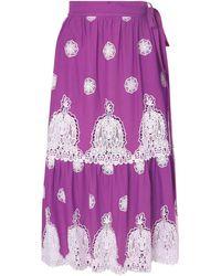 Miguelina Georgia Crocheted Cotton-voile Midi Skirt - Purple