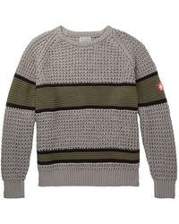 Cav Empt Striped Waffle-knit Cotton Jumper - Grey