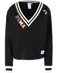 PUMA Sweatshirt mit V-Ausschnitt - Schwarz