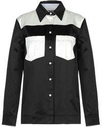 CALVIN KLEIN 205W39NYC Zweifarbiges Hemd Aus Satin Aus Einer Baumwollmischung - Schwarz