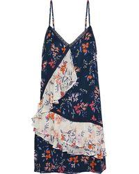 Love Sam Crochet-trimmed Floral-print Chiffon Mini Dress Navy - Blue