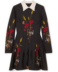 Valentino Mini-robe En Laine Et Soie Mélangées À Imprimé Fleuri - Noir