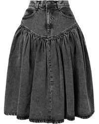 Pushbutton Denim Skirt - Gray