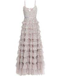 Needle & Thread Langes Kleid - Grau