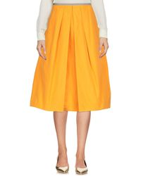 Jil Sander Navy 3/4 Length Skirt - Orange