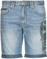 Philipp Plein Bermuda en jean - Bleu