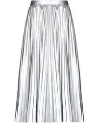Tibi Pleated Lamé Midi Skirt Silver - Metallic