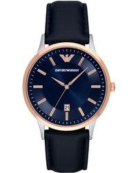 Emporio Armani - Blue Leather Strap Watch 43mm Ar2506 - Lyst