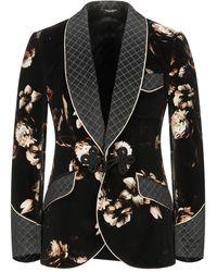 Dolce & Gabbana Floral Print Velvet Slim Blazer - Black
