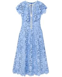 Lela Rose Cape-effect Guipure Lace Midi Dress - Blue