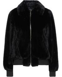 MY TWIN Twinset Teddy Coat - Black