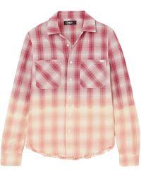Amiri Ombr Metallic Plaid Cotton Flannel Shirt - Multicolour