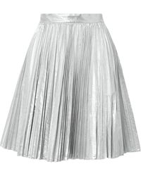 Pushbutton Knee Length Skirt - Metallic