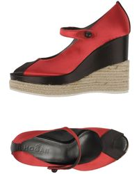 ada34232e73ac Lyst - Hogan 138 Wedge Decollete Open Toe Patent Leather Wedge Heel ...