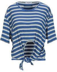 Opening Ceremony Striped Tie-front Short-sleeve Tee - Blue