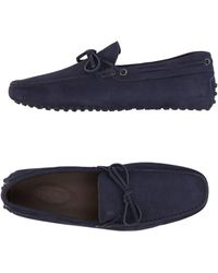 Tod's - Navy Leather Boatstitched Driving Loafers - Lyst