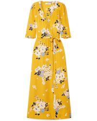Sea Pia Floral Faux Wrap Midi Dress - Yellow